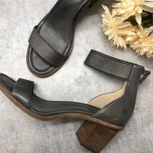 Frye Brielle Bias Grey Leather Stripe Heel Sandal